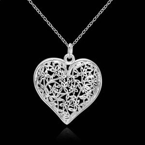 S925 color jewelry elegant charms heart pendant